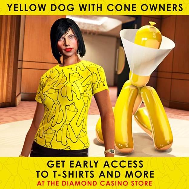 perro con cono amarillo GTA Online