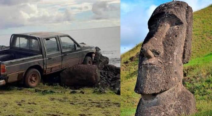 Camioneta destruyó invaluable estatua de la Isla de Pascua 1