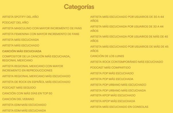 Categorías (Spotify Awards)