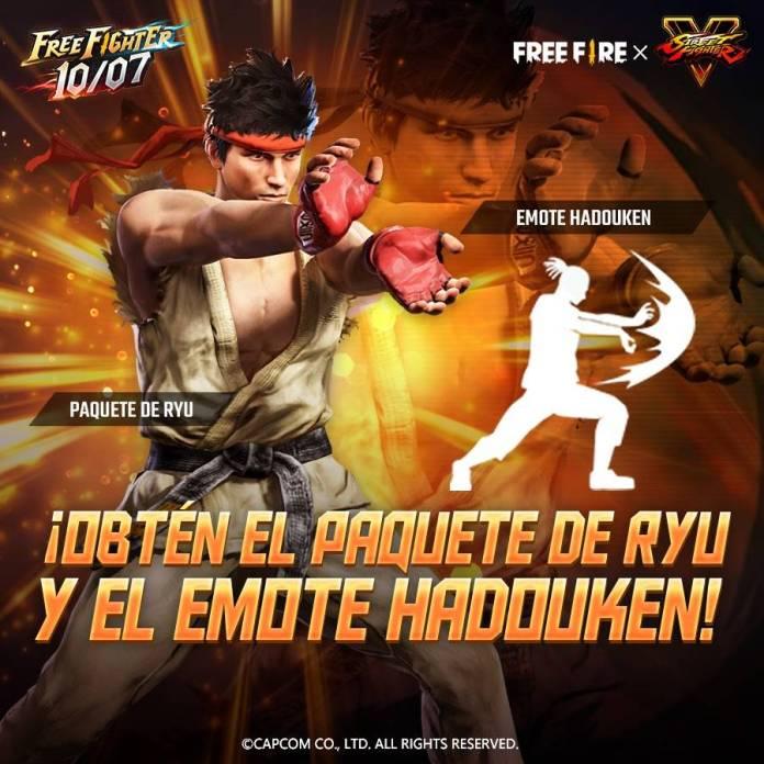 La colaboración entre Free Fire y Street Fighter V llegará a su fin este 10 de Julio 2