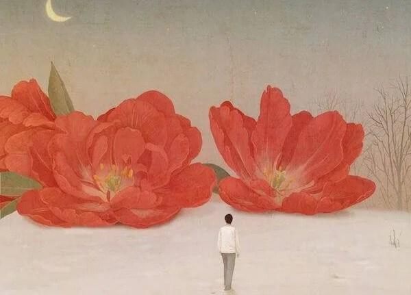 Homme-fleurs-rouges