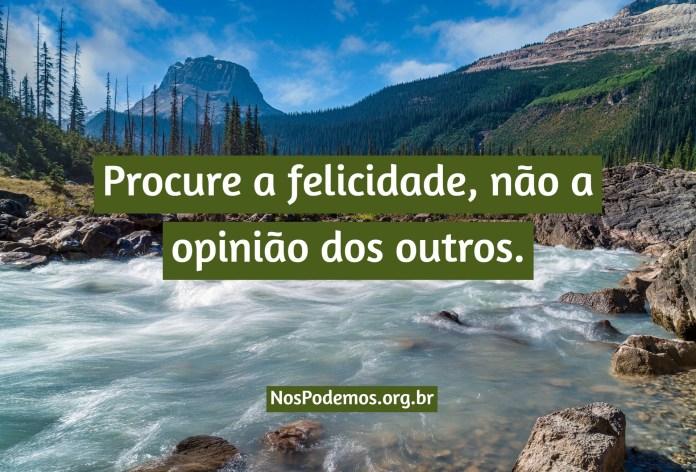 Procure a felicidade, não a opinião dos outros.
