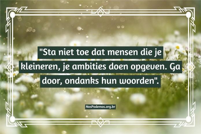 """""""Sta niet toe dat mensen die je kleineren, je ambities doen opgeven. Ga door, ondanks hun woorden""""."""