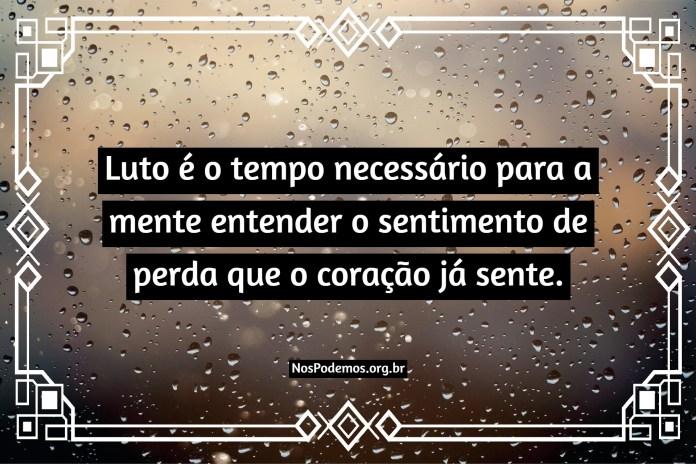 Luto é o tempo necessário para a mente entender o sentimento de perda que o coração já sente.