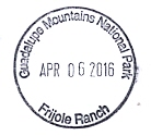 Texas' National Parks Passport Cancellation Stamps