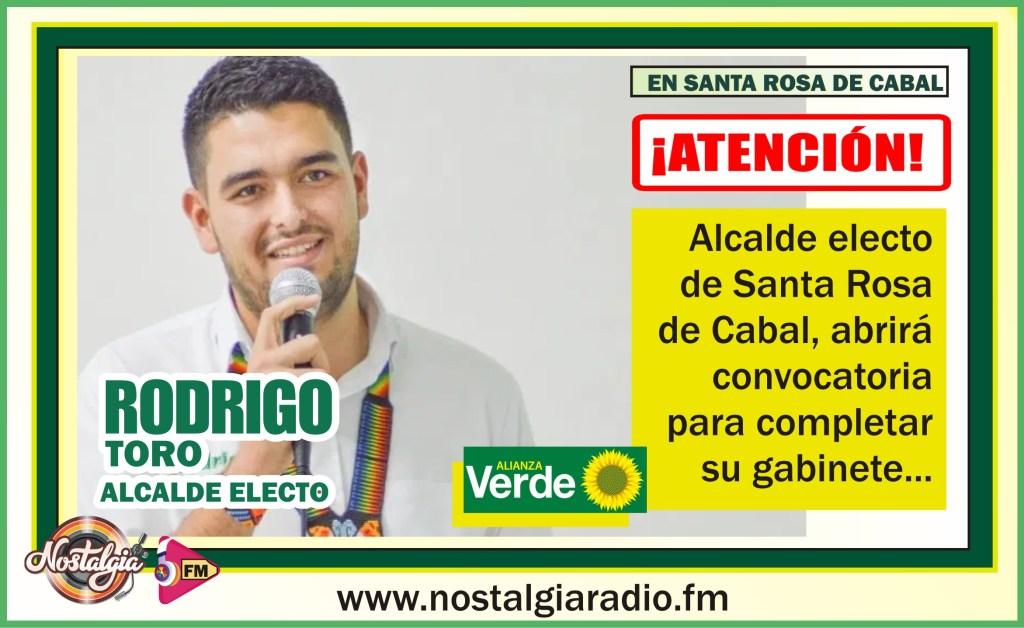 Resultado de imagen para Alcalde Electo por Santa Rosa de Cabal, Rodrigo Toro