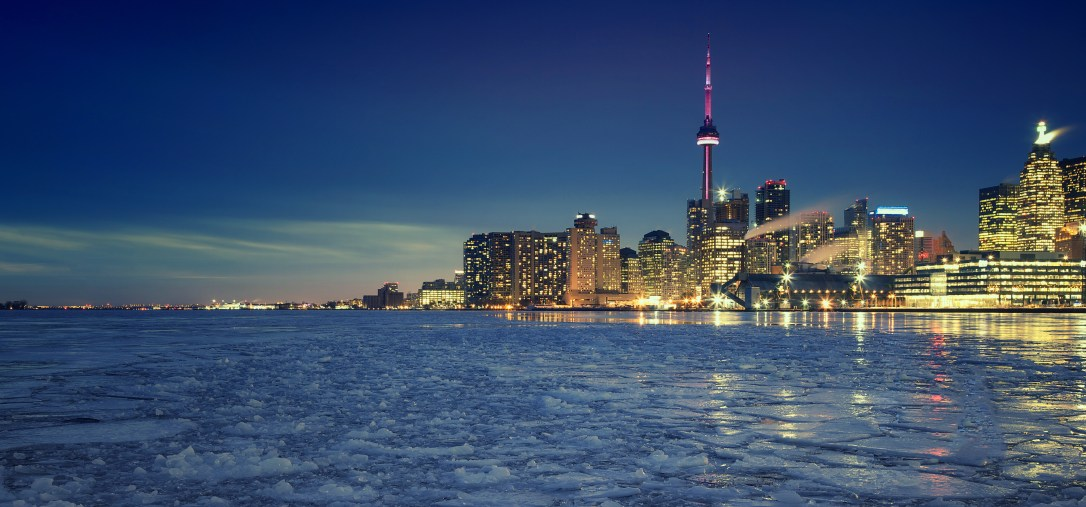 Toronto's Winter skyline, the view from Cherry Street, Toronto, Ontario, Canada.