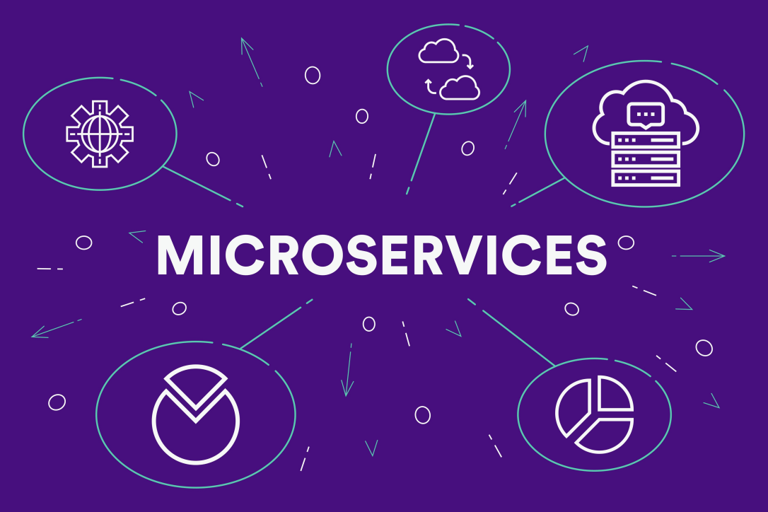Conceptual business illustration with the words microservices-1