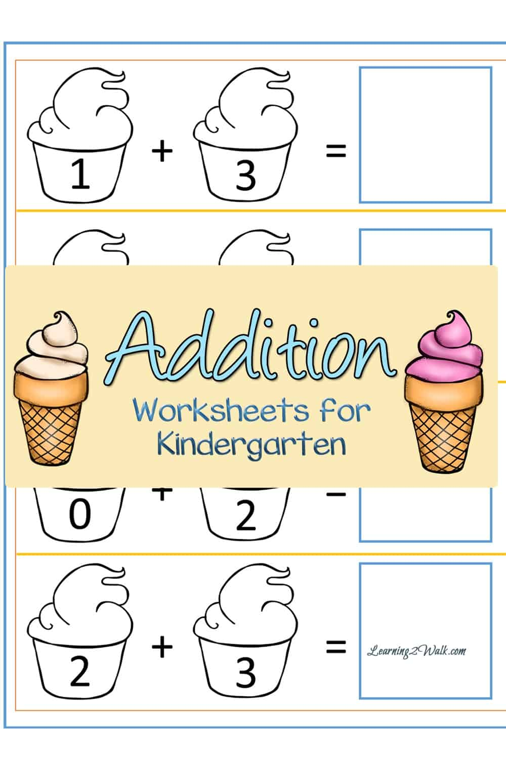 medium resolution of Free Ice Cream Addition Worksheets For Kindergarten