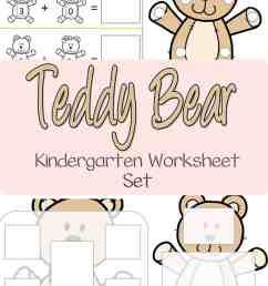 Teddy Bear Kindergarten Worksheet Set [ 1500 x 1000 Pixel ]