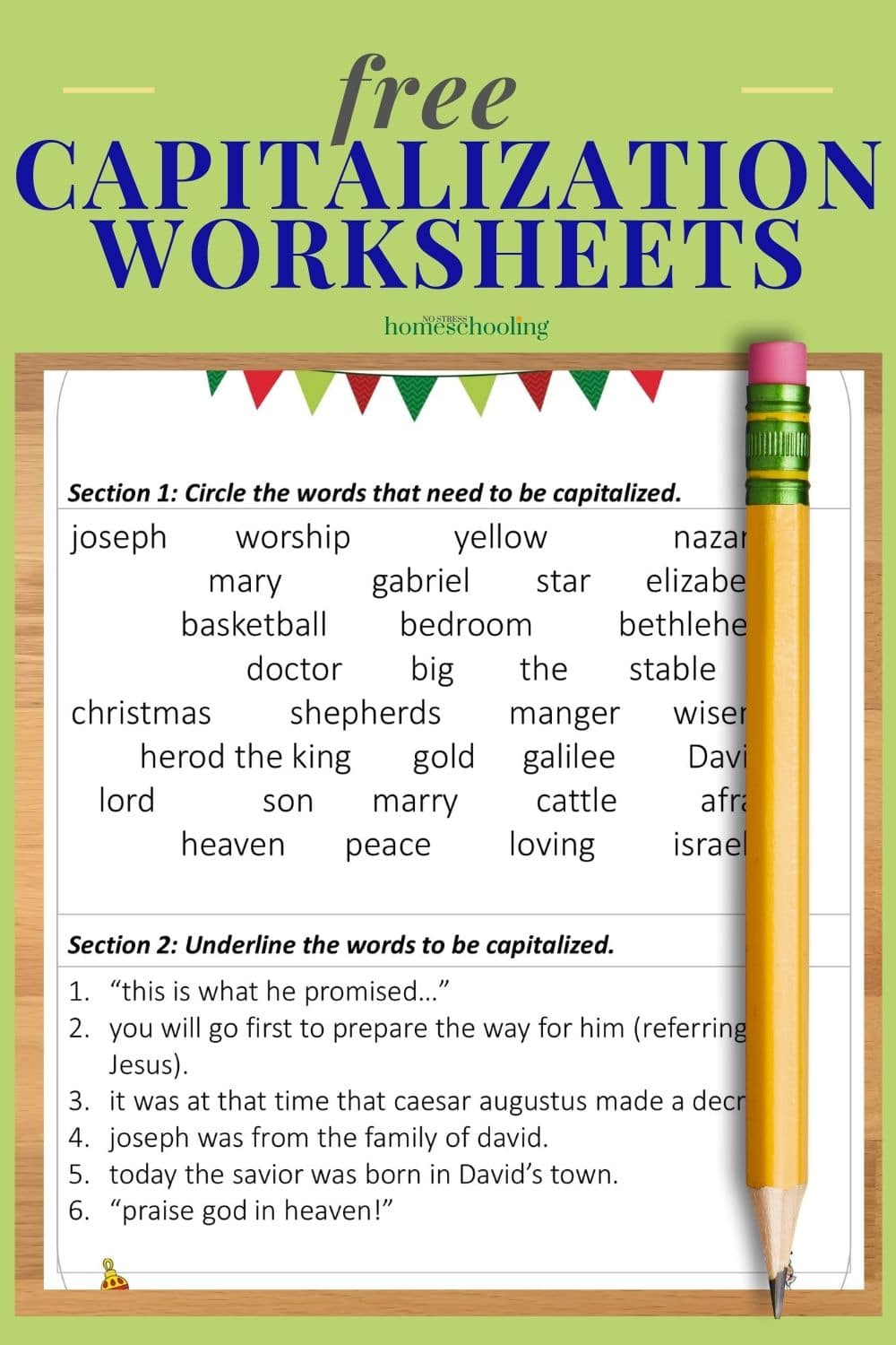 medium resolution of Free Christmas Capitalization Worksheets