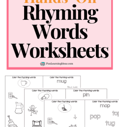 Color The Rhyme- Hands On Free Rhyming Words Worksheets [ 1102 x 735 Pixel ]