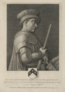 Sir John de Hawkwood by Thomas Patch, after Paolo Uccello, line engraving, 1771 (1436) - © National Portrait Gallery, London