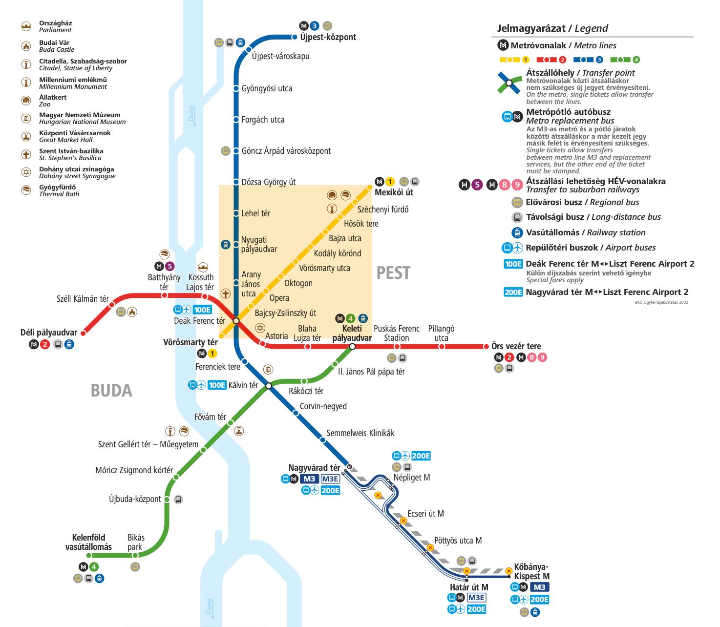 Mapa Metro de Budapest (Hungría)