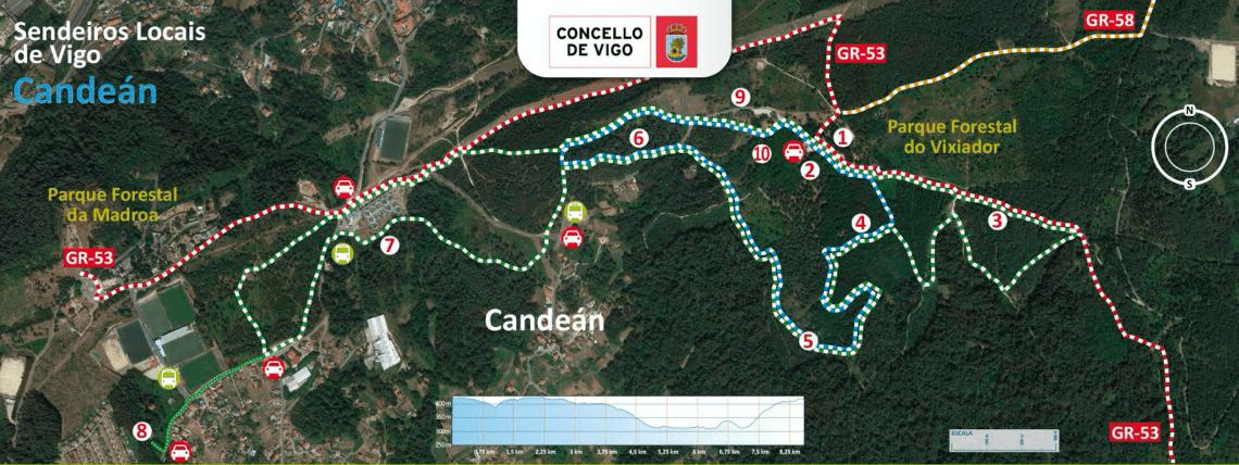 Mapa Sendeiro local de Candeán (Vigo)