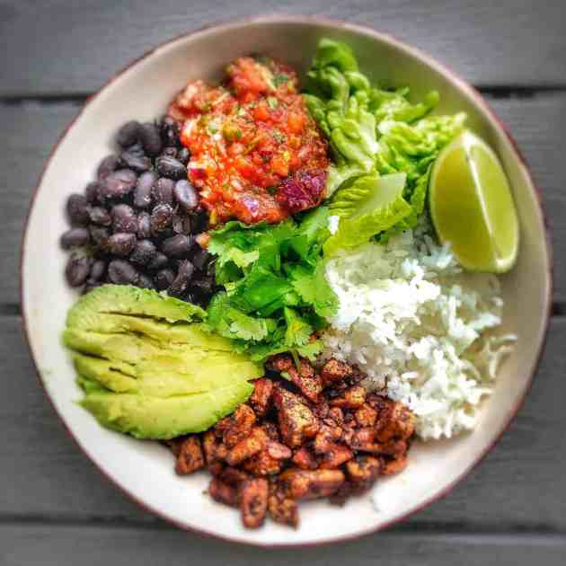 vegan burrito bowl with easy homemade salsa