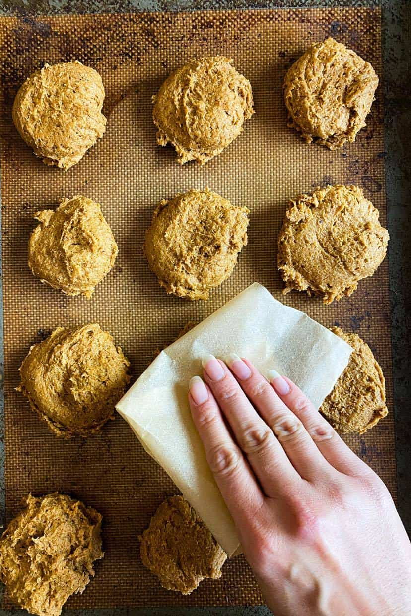 press the pumpkin cookies flat