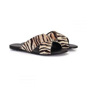 Rasteira tiras cruzadas em x feminina animal print zebra pêlo pelo slide rasteirinha vegano sintetico not-me
