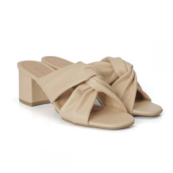 tamanco, sandália tiras cruzadas, sandália nó, sandália verão, anos 80 salto bloco, rasteirinha, creme, off white