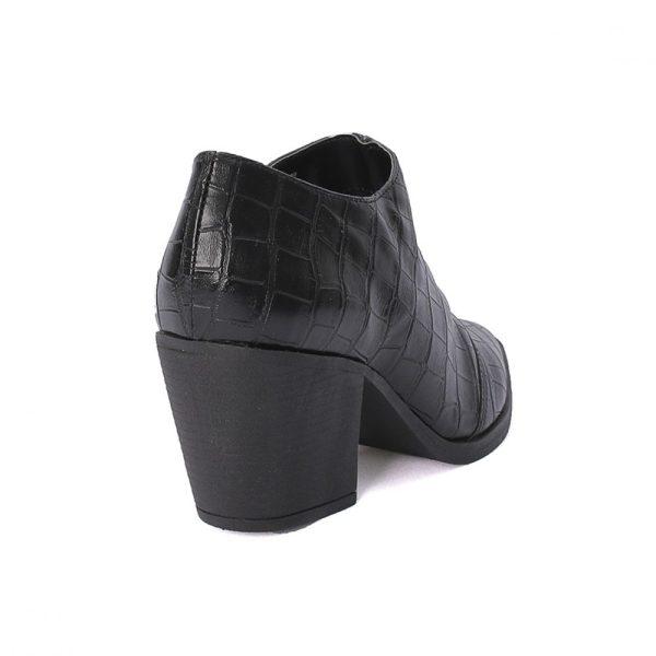 Bota Feminina Ankle Boot Croco Preta