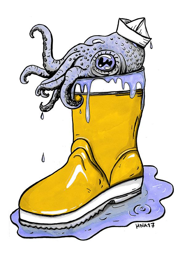 mustekala juliste huumori värikäs saapas