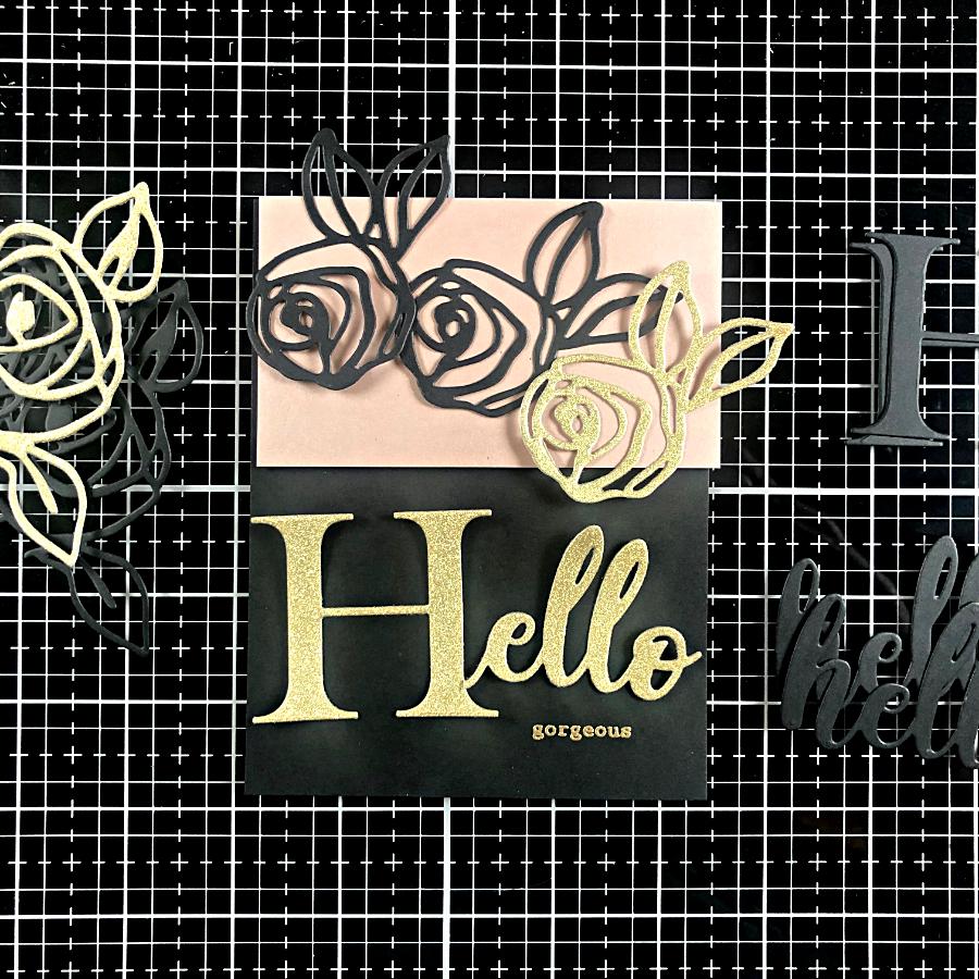 Die cut elements from Basis Black cardstock from CutCardStock.com