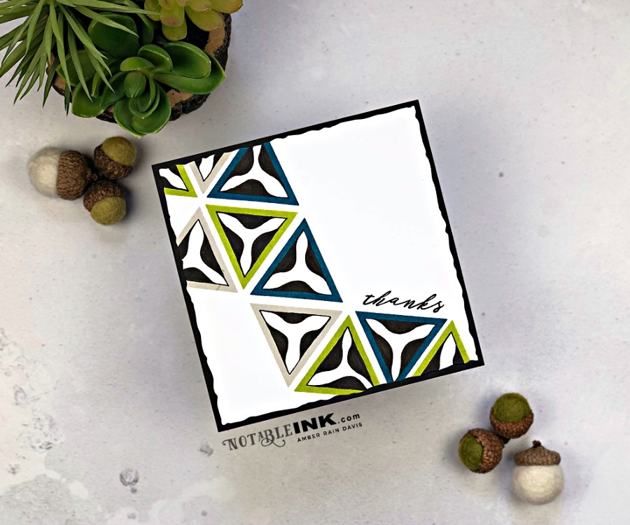 Masculine card with Altenew Trigonometry Stamp Set and Zentangle®