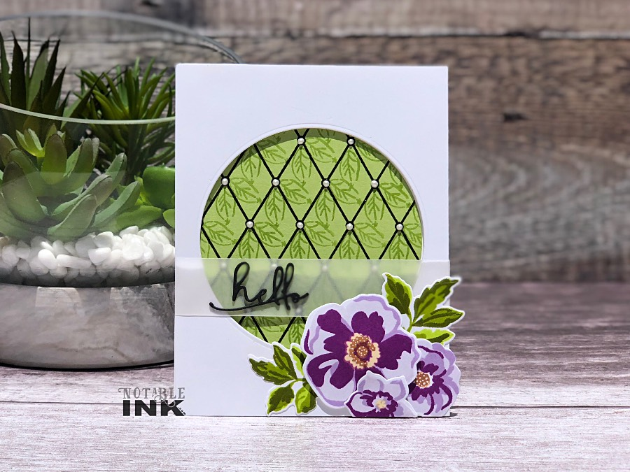 Background with Altenew Pattern Diamond and Floral Arrangement