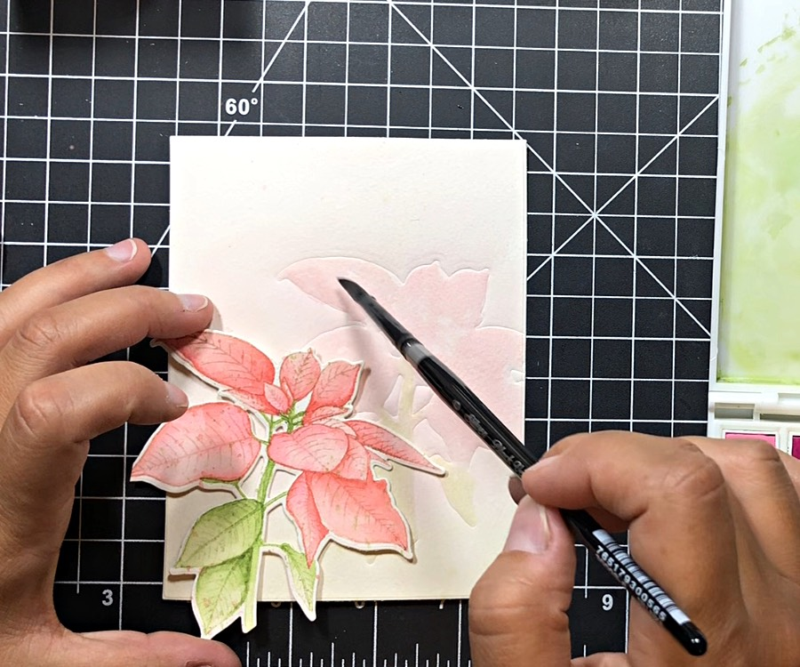 Dry embossed and watercolored background