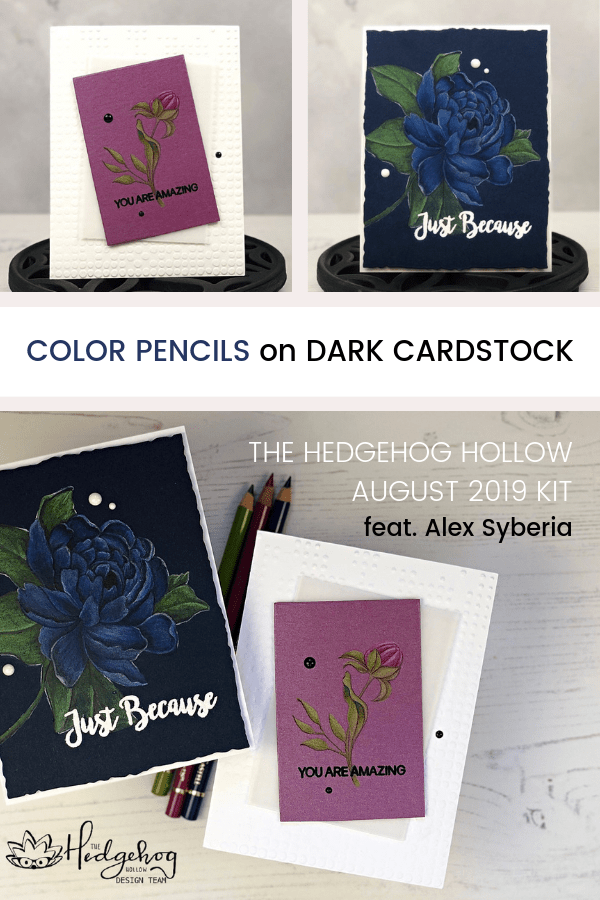 Color Pencils on Dark Cardstock | The Hedgehog Hollow August 2019 Kit | Alex Syberia Designs