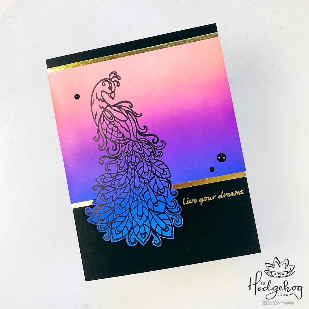 Distress Oxide Ink Peacock Card   The Hedgehog Hollow September 2019 Box