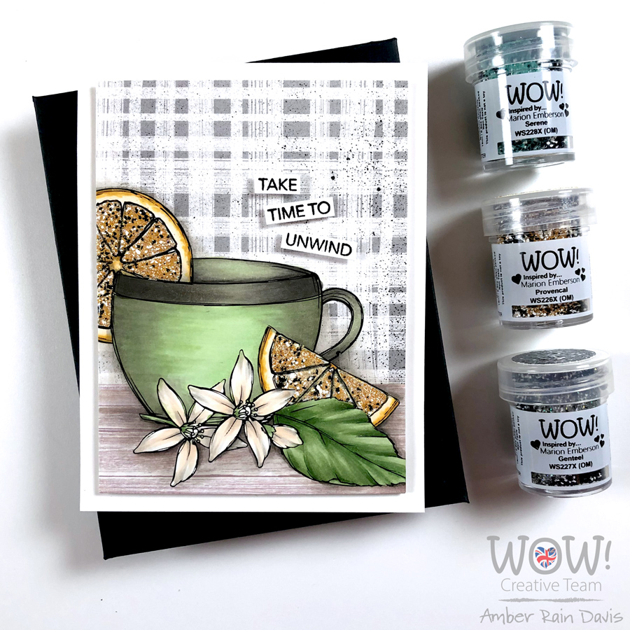 Graciellie Design Tea for the Soul digital stamp | heat emboss with chunky powders