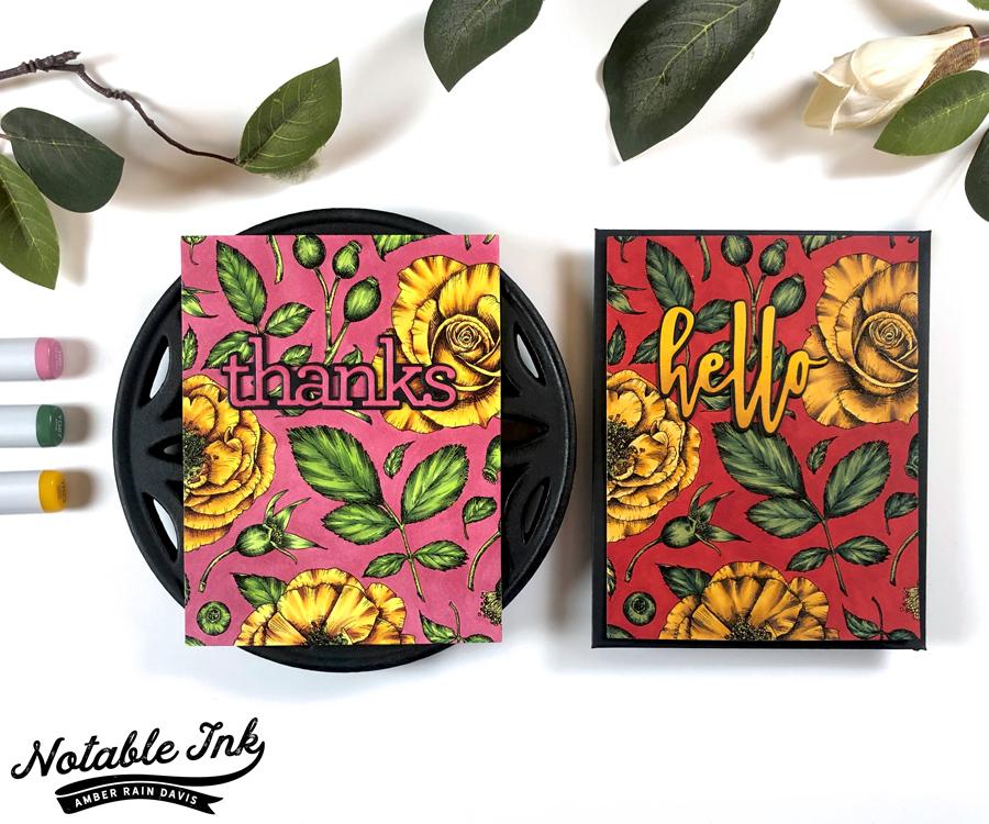 Rose Wallpaper Cards in 3 Colorways