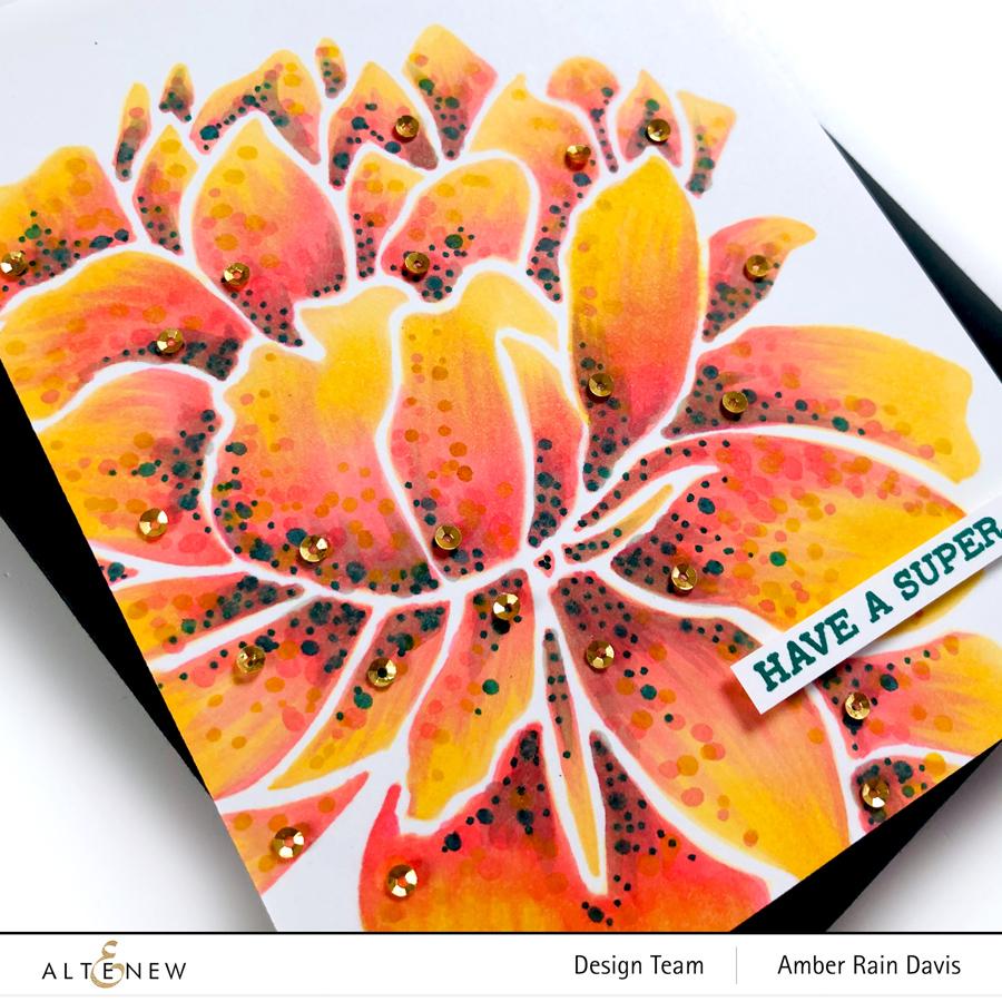 Altenew Mega Bloom Stencil | Alex Syberia Dot Coloring