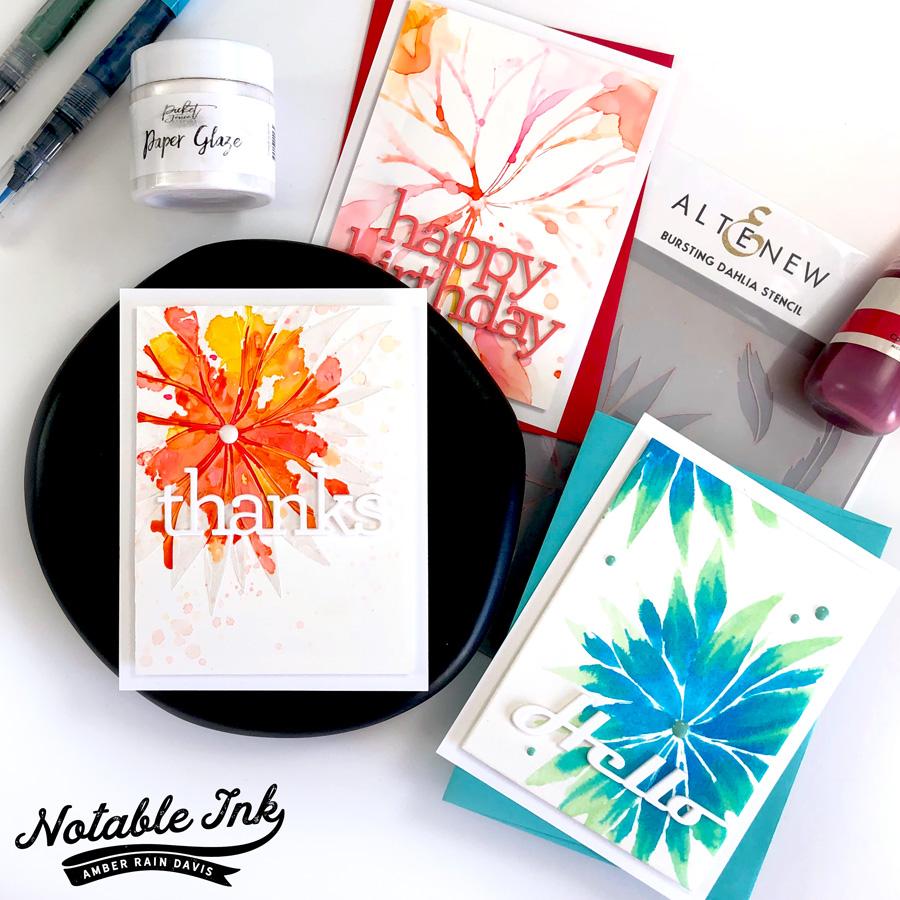 1 Stencil, 3 Cards, No Ink Blending