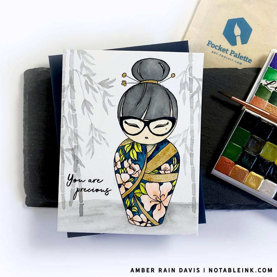 Alex Syberia Japanese Kokeshi Doll Mitsuki Digital Stamp