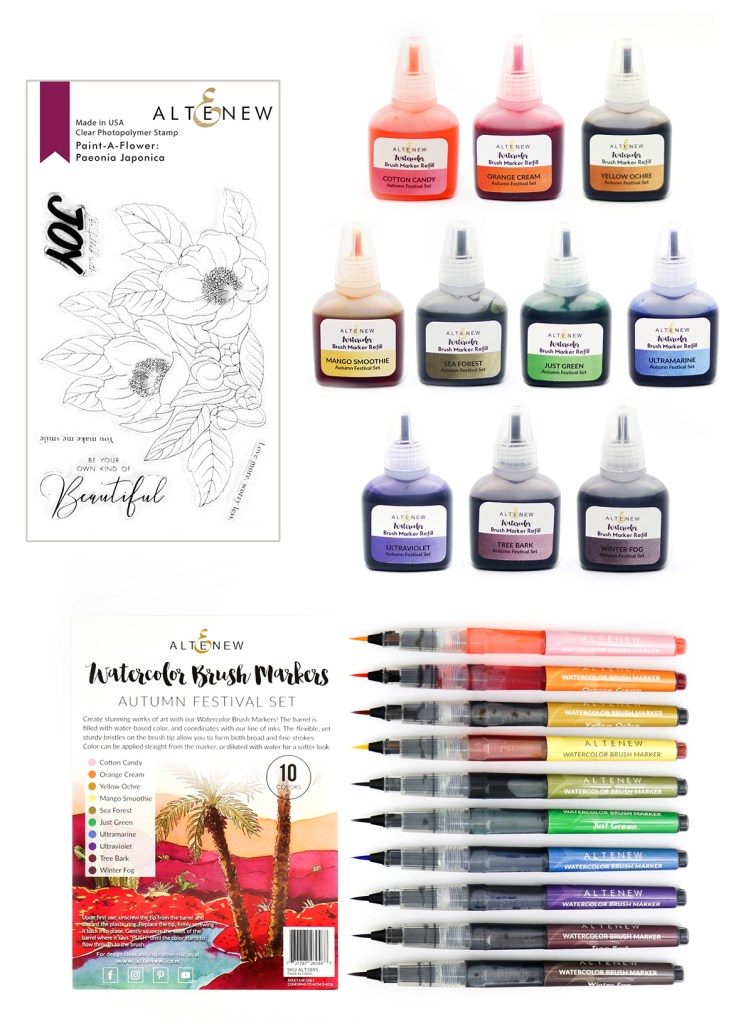 Altenew Paint-A-Flower: Paeonia Japonica & Autumn Festival Watercolor Brush Markers