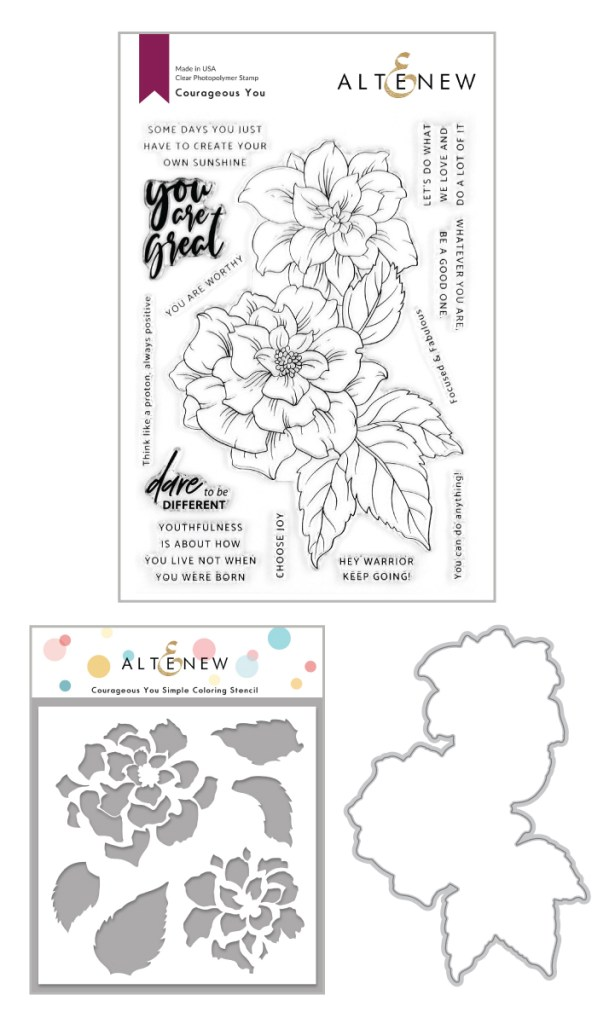 Altenew Courageous You Stamp, Die, & Simple Coloring Stencil Bundle