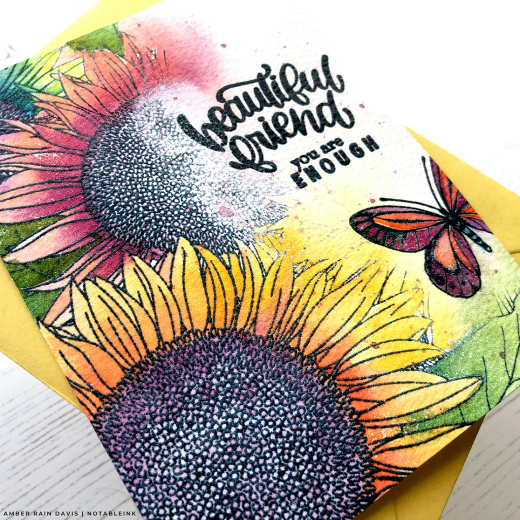 STAMPtember Partial Stamping & Watercolor Blowout