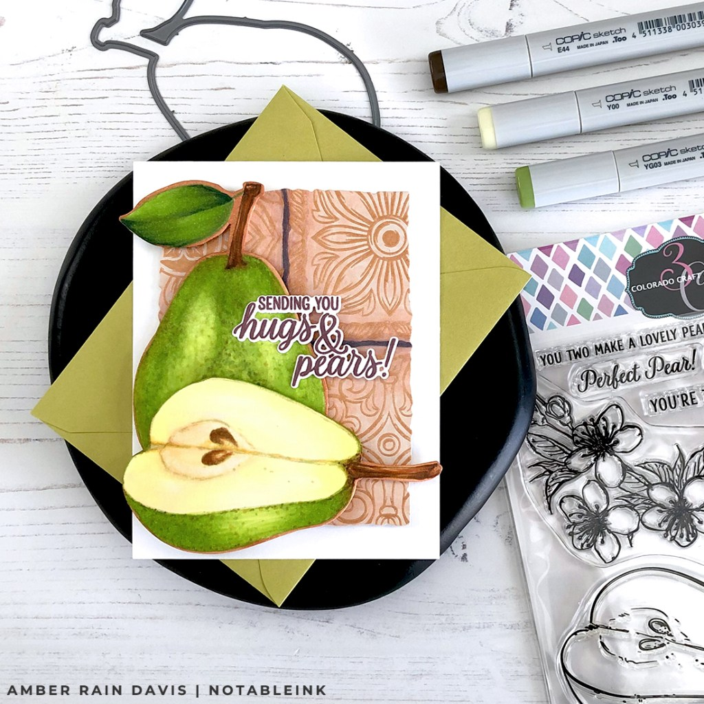 How to Copic color realistic pears | Colorado Craft Company Pears & Hugs