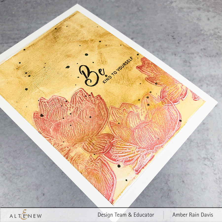 Gel Press with Pigment Ink & Altenew Build-A-Flower: Indian Lotus