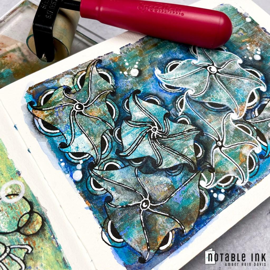 Geltangle   gel printing + Zentangle