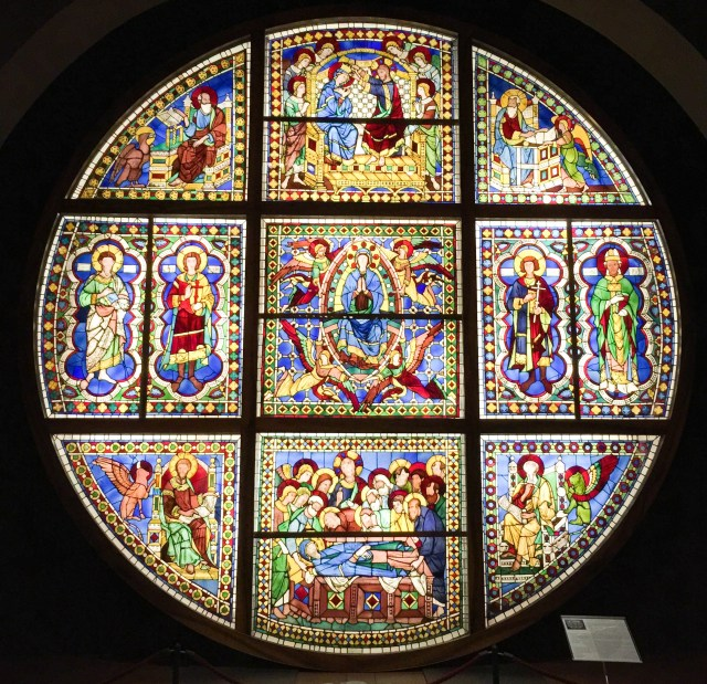 Stained Glass Window in the Statue Gallery at the Museo dell'Opera in Siena Italy