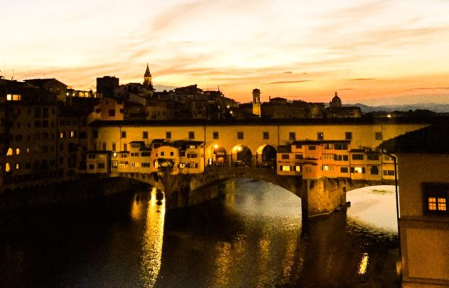 View of the Ponte Vecchio at sunset...from the windows of the Uffizi Galleries