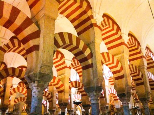 Arches in the Mezquita in Cordoba Spain