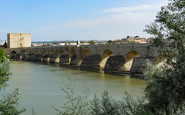The Calahorra Tower and the Roman Brige, viewed from the northern bank of the Guadalquivir in Cordoba, Spain