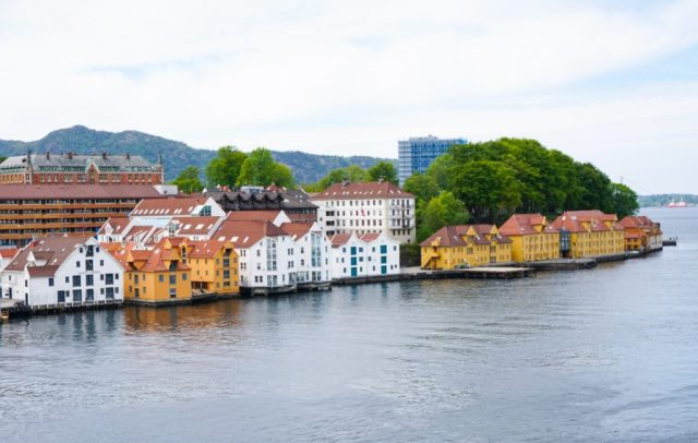 View as you leave Bergen harbor on your fjord cruise