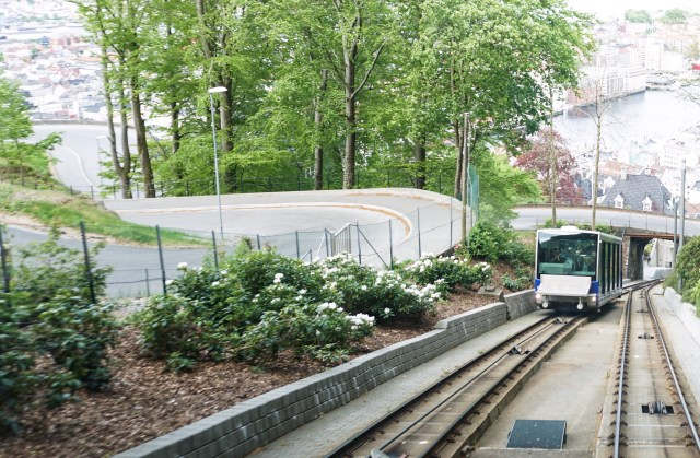The funicular track at Mt. Floyen in Bergen Norway