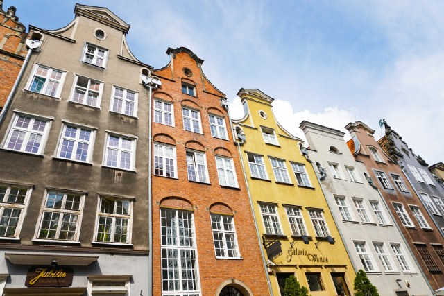 Colorful facades on Mariacka Street Old Town Gdansk Poland