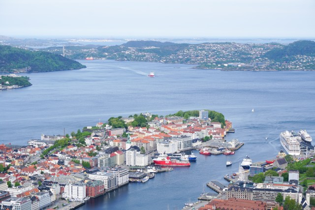 Spectacular view of Bergen, the fjords and mountains from the top of Mt. Floyen...this should be at the top of your things to do in Bergen in one day!